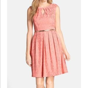 Ellen Tracy Belted Fit & Flare in Coral Dress Sz:4